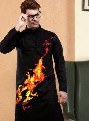 Black Digital Print Kurta Pyjama