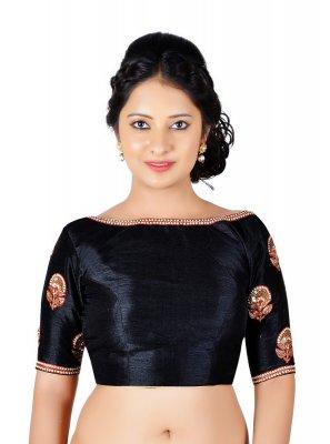 Black Embroidered Art Dupion Silk Designer Blouse
