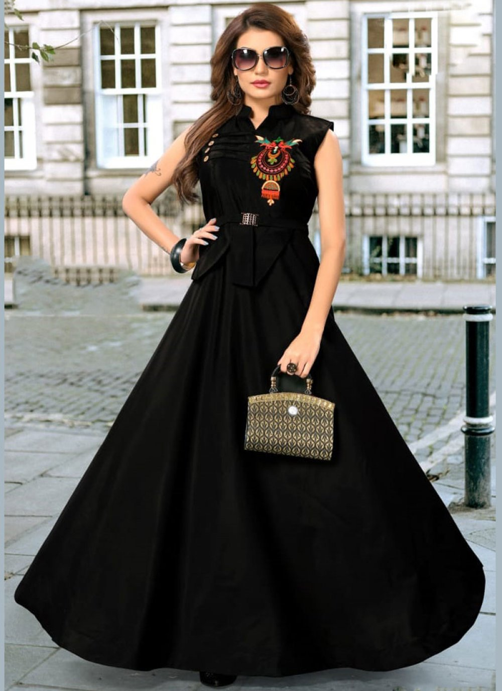 Black Embroidered Art Silk Readymade Gown