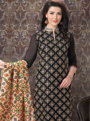 Black Embroidered Ceremonial Churidar Salwar Suit