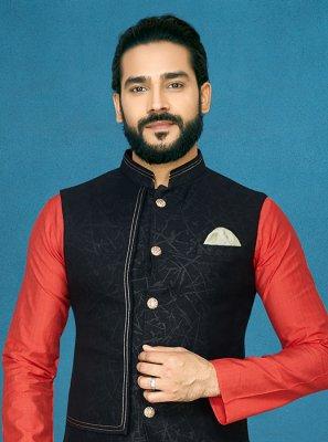Black Embroidered Ceremonial Nehru Jackets