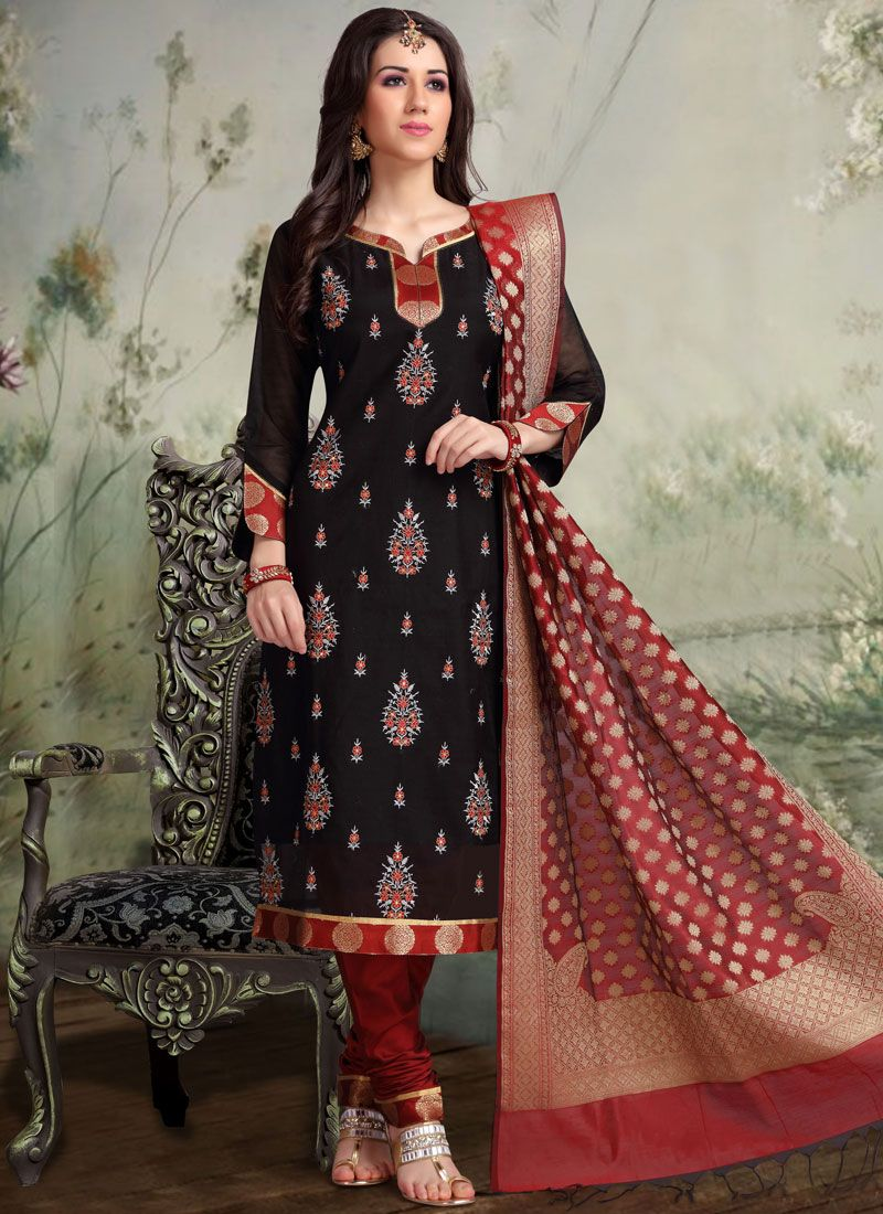 Black Embroidered Chanderi Churidar Designer Suit