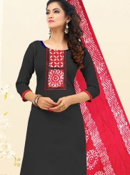 Black Embroidered Cotton Churidar Salwar Kameez