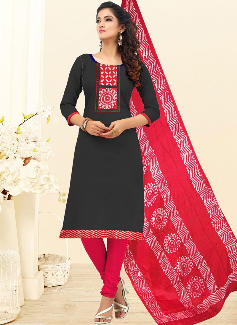 Black Embroidered Cotton Churidar Salwar Kameez