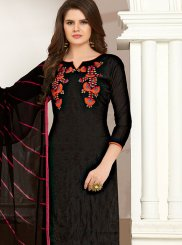 Black Embroidered Cotton Churidar Suit
