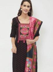 Black Embroidered Cotton Designer Suit