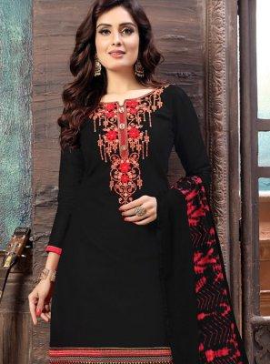 Black Embroidered Designer Patiala Suit