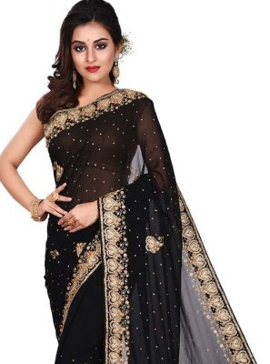 Black Embroidered Designer Traditional Saree