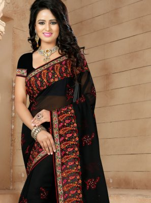 Black Embroidered Faux Georgette Classic Saree