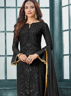 Black Embroidered Faux Georgette Pakistani Suit