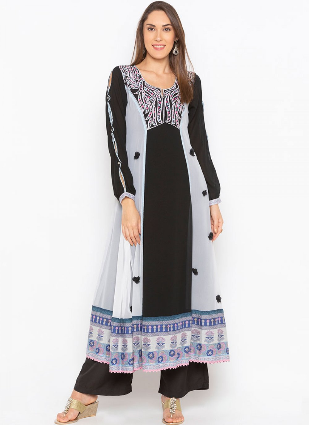 Black Embroidered Faux Georgette Party Wear Kurti