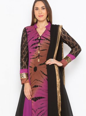 Black Embroidered Faux Georgette Readymade Suit