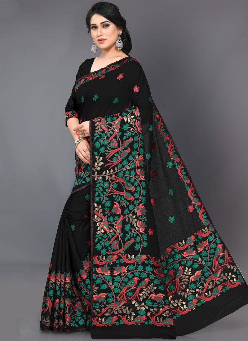 Black Embroidered Festival Classic Saree