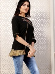 Black Embroidered Festival Party Wear Kurti