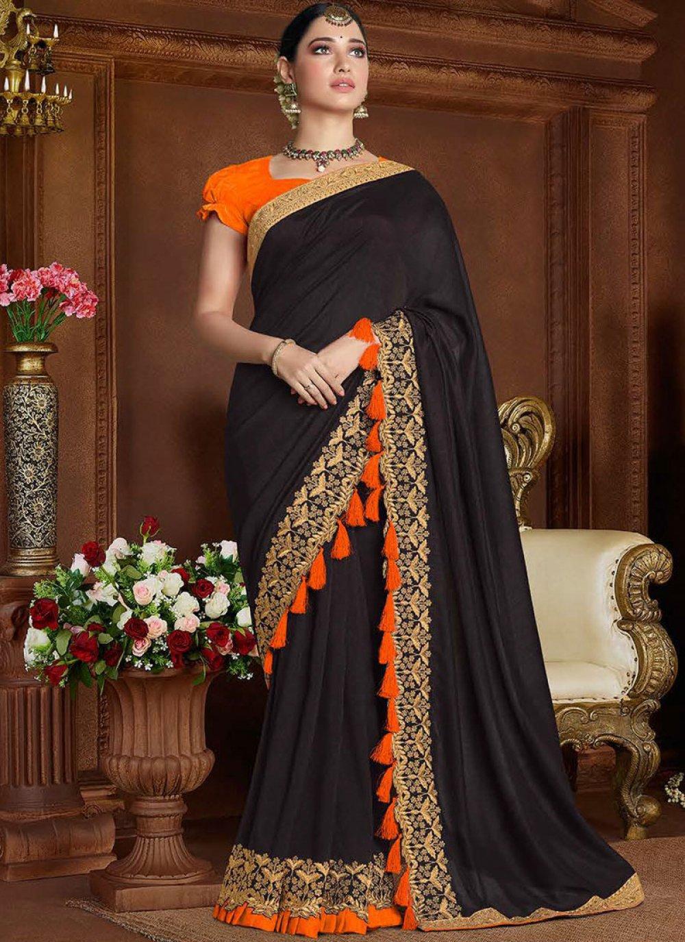 Black Embroidered Mehndi Classic Saree