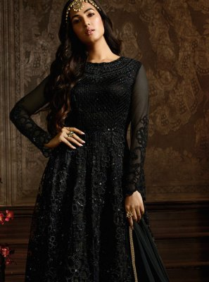 Black Embroidered Net Desinger Anarkali Salwar Suit