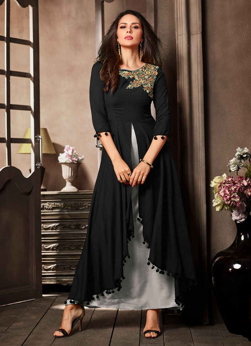 Black Embroidered Rayon Designer Kurti