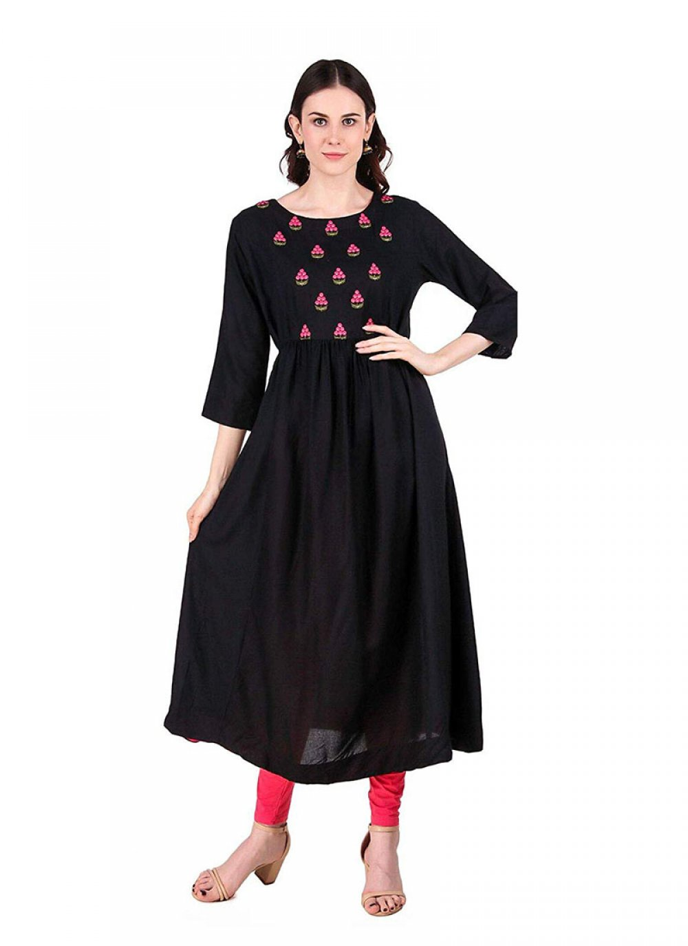 Black Embroidered Rayon Party Wear Kurti