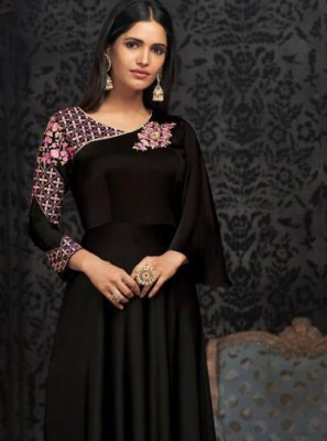 Black Embroidered Readymade Gown
