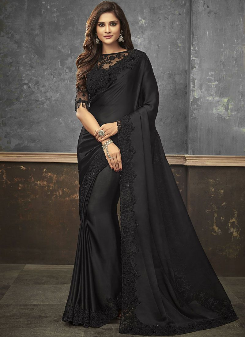 Black Embroidered Satin Trendy Saree