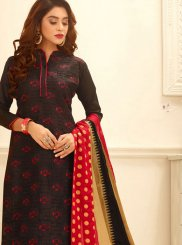 Black Embroidered Trendy Churidar Suit
