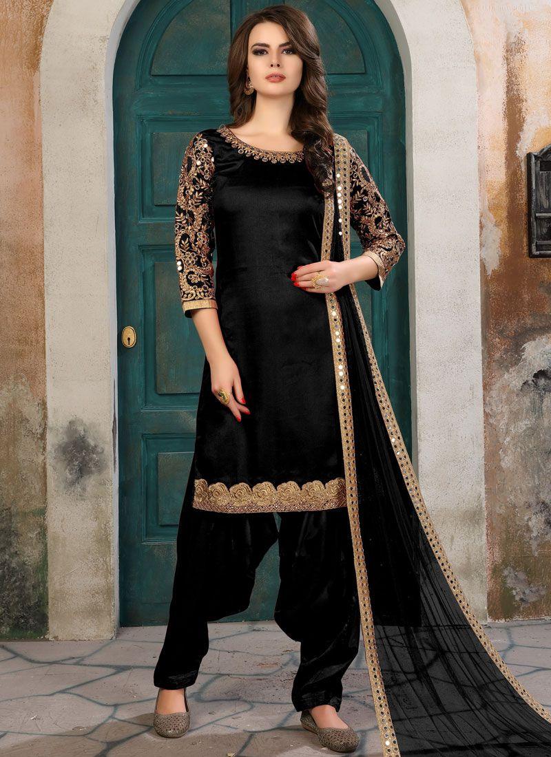 Black Embroidered Work Salwar Kameez