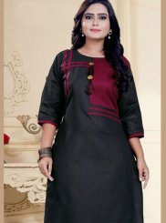 Black Fancy Cotton Party Wear Kurti