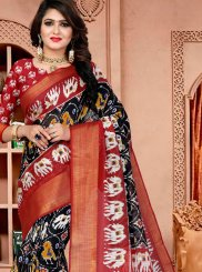 Black Fancy Fabric Printed Saree