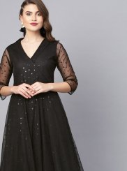 Black Fancy Net Party Wear Kurti