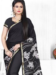 Black Faux Chiffon Printed Saree