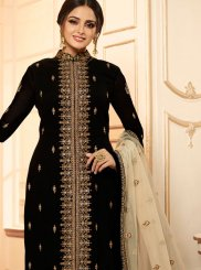 Black Faux Georgette Ceremonial Churidar Designer Suit