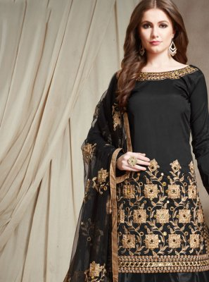 Black Faux Georgette Designer Patiala Suit
