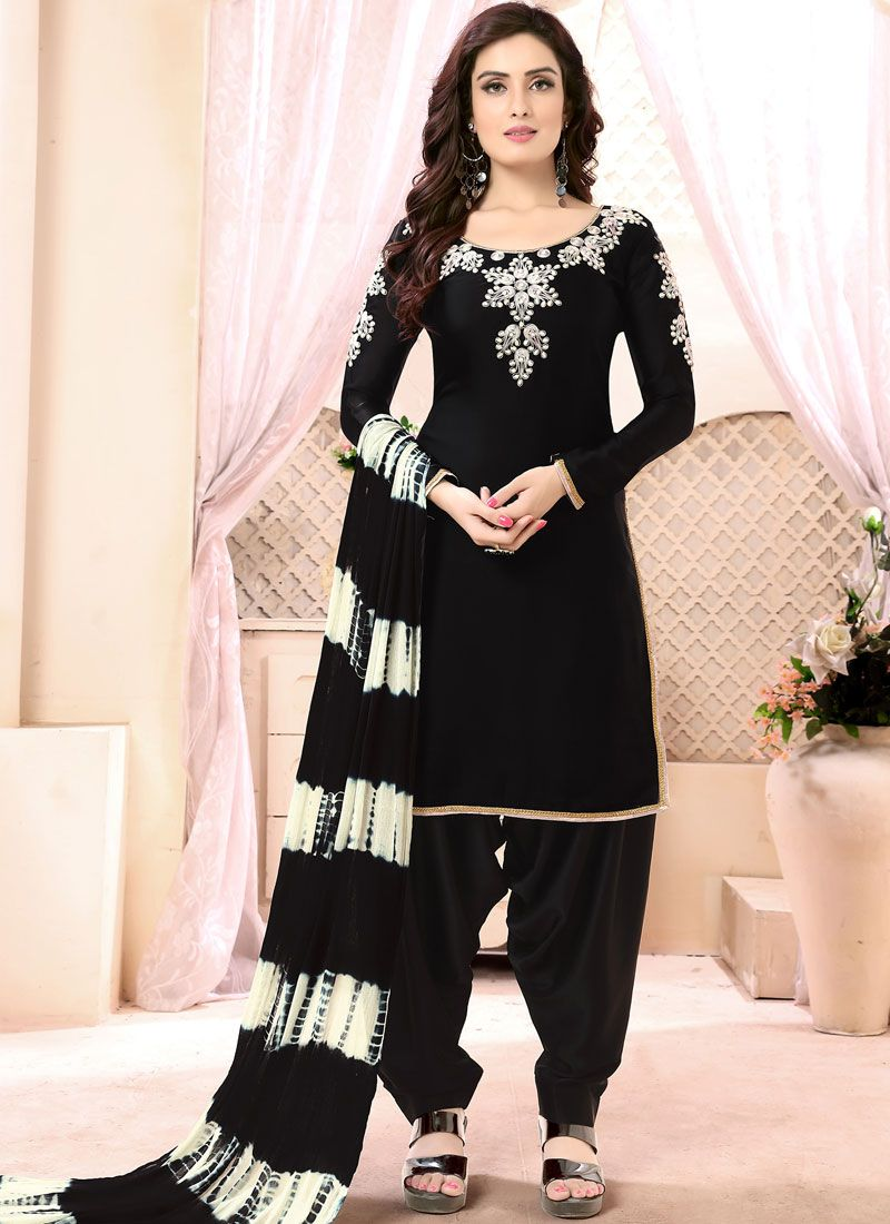 Black Faux Georgette Festival Punjabi Suit