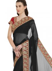 Black Faux Georgette Festival Saree