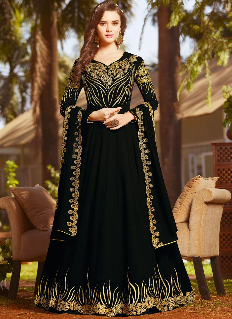 Black Faux Georgette Floor Length Anarkali Suit