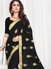 Black Faux Georgette Party Traditional Saree