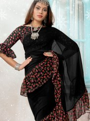 Black Faux Georgette Traditional Designer Saree