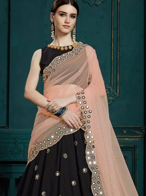 Black Faux Georgette Trendy Designer Lehenga Choli