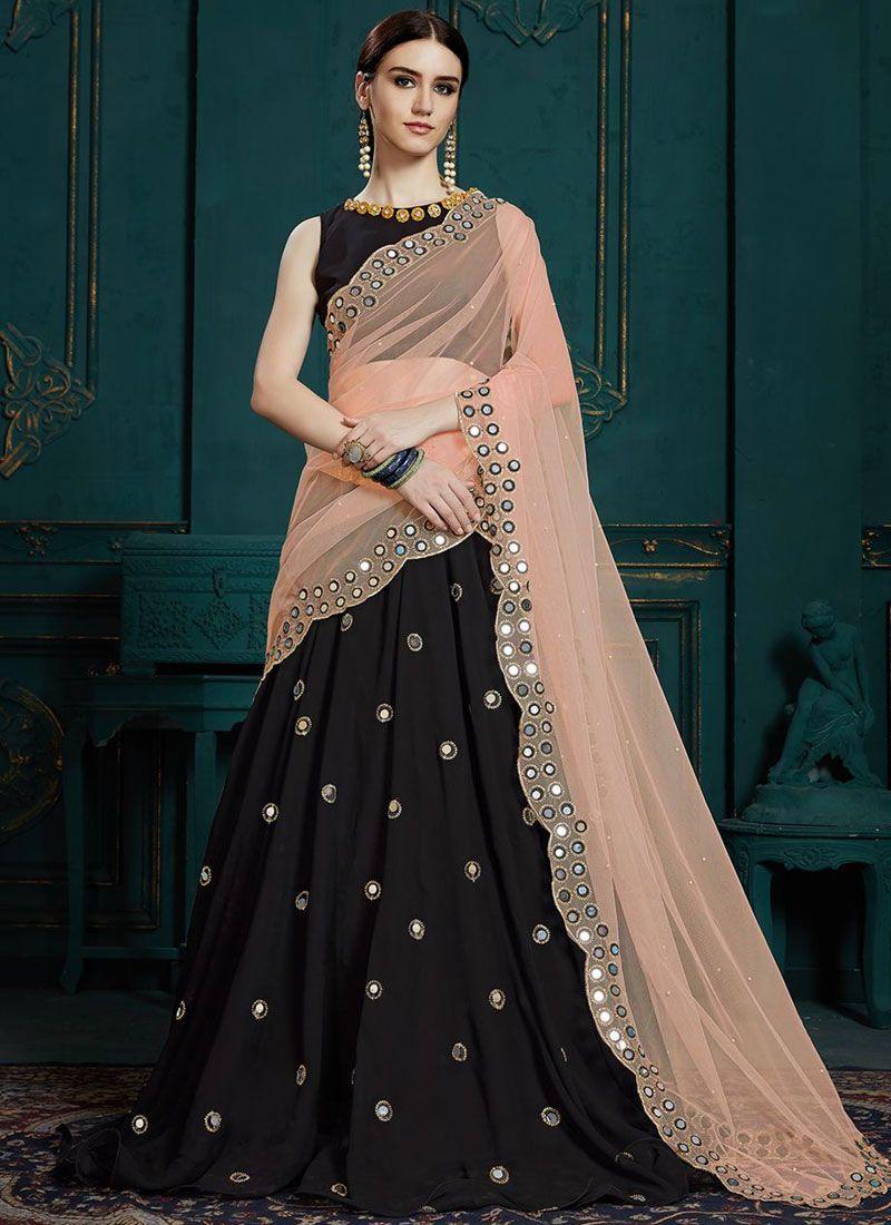 Black Faux Georgette Trendy Designer Lehenga Choli