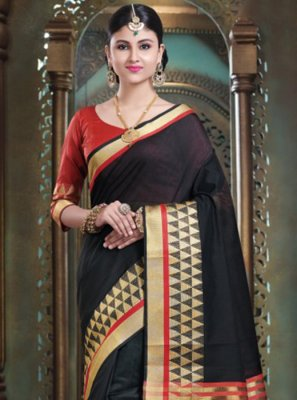 Black Festival Art Silk Designer Traditional Saree