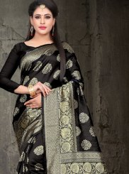 Black Festival Art Silk Traditional Designer Saree