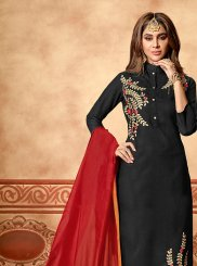 Black Festival Churidar Suit