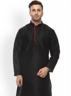 Black Festival Dupion Silk Kurta Pyjama