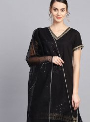 Black Festival Faux Crepe Readymade Suit