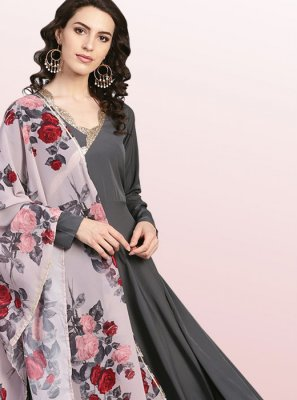 Black Festival Polyester Party Wear Kurti