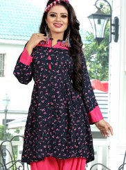 Black Festival Rayon Party Wear Kurti