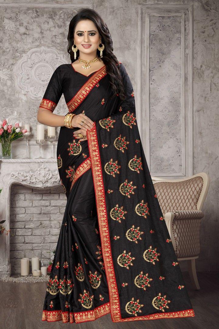 Black Festival Silk Traditional Saree