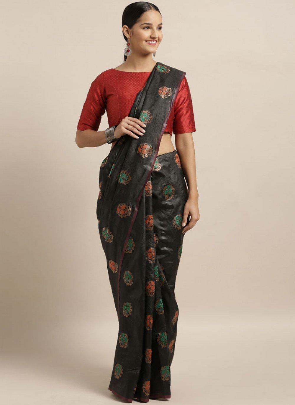 Black Festival Traditional Designer Saree