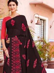 Black Georgette Printed Casual Saree