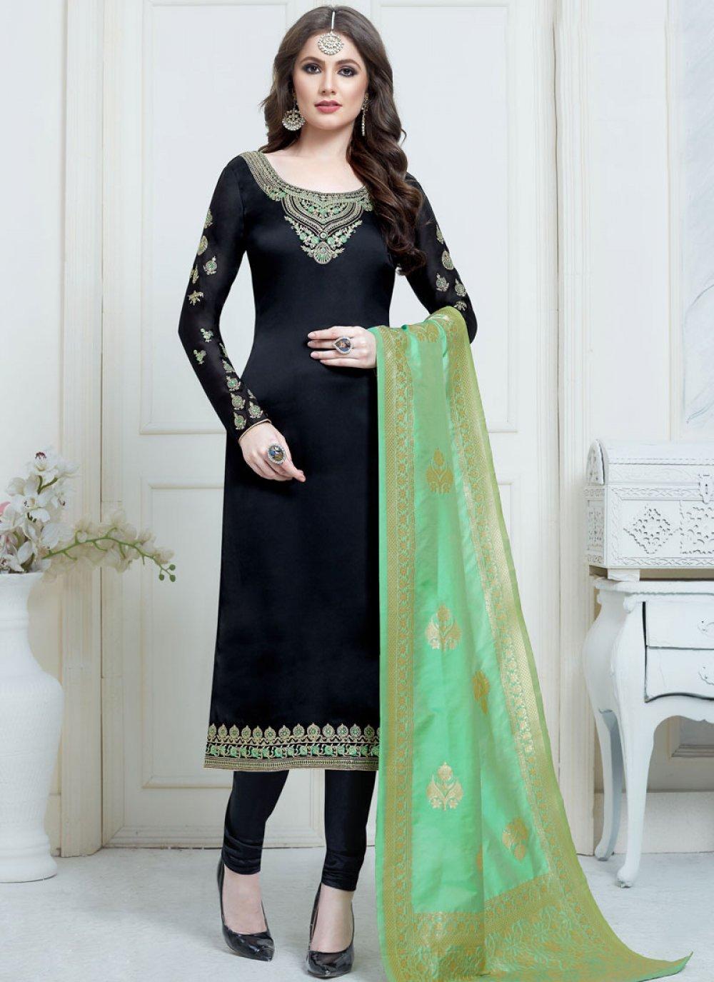 Black Georgette Satin Churidar Salwar Suit